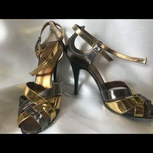 Roberto Cavalli Gunmetal and Gold Heels